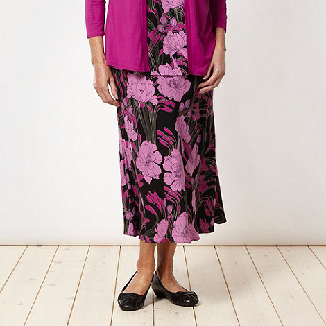 Classics - Dark pink floral flared skirt