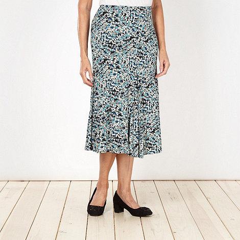 Classics - Turquoise brushstroke printed skirt