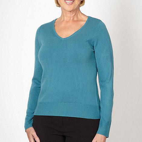Classics - Turquoise ultra soft V neck jumper