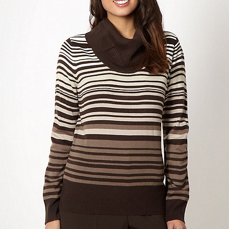 Classics - Brown striped cowl neck jumper