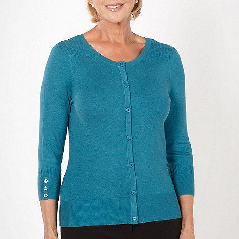 Classics - Turquoise geometric knitted cardigan