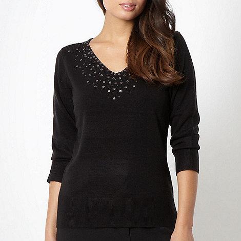 Classics - Black embellished V neck jumper