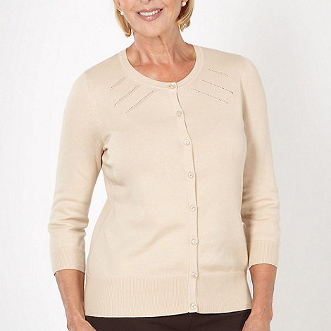 Classics - Natural three quarter sleeved pointelle cardigan