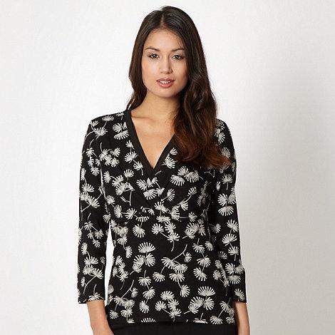 Classics - Black floral chiffon trim top