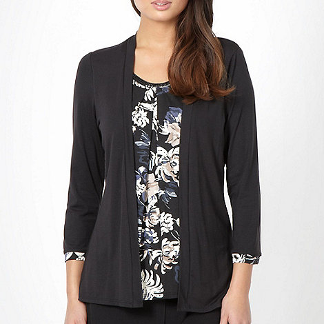 Classics - Black floral beaded 2 in 1 long sleeve top