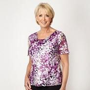 Lilac silk leaf patterned cowl neck top