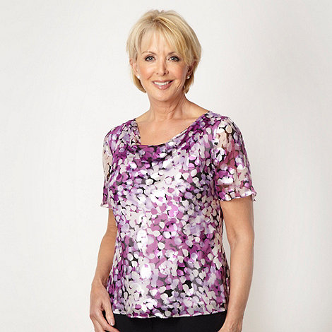 Classics - Lilac silk leaf patterned cowl neck top