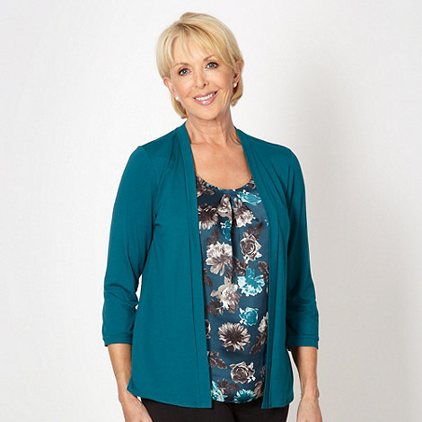 Classics - Dark turquoise floral 2-in-1 top