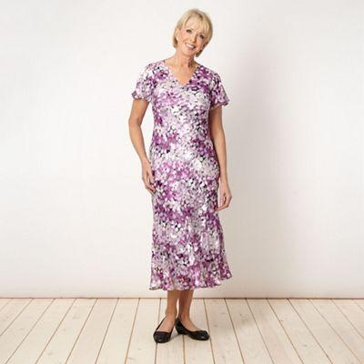 Classics Lilac silk leaf patterned dress - . -
