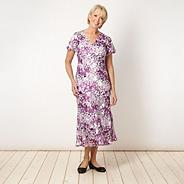 Lilac silk leaf patterned dress