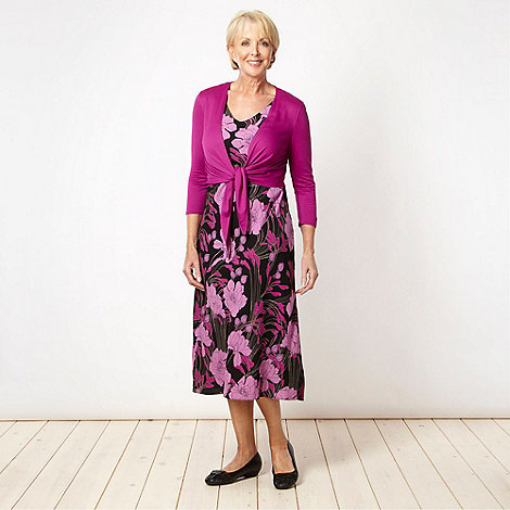 Classics - Dark pink floral dress and shrug set
