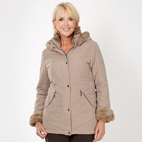 Classics - Light brown  faux fur trim parka jacket