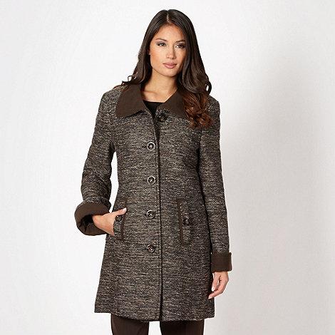 Classics - Brown tweed contrast collar coat