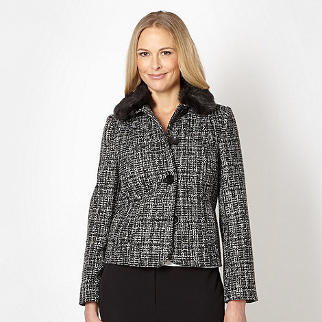 Classics - Grey checked  faux fur trim jacket