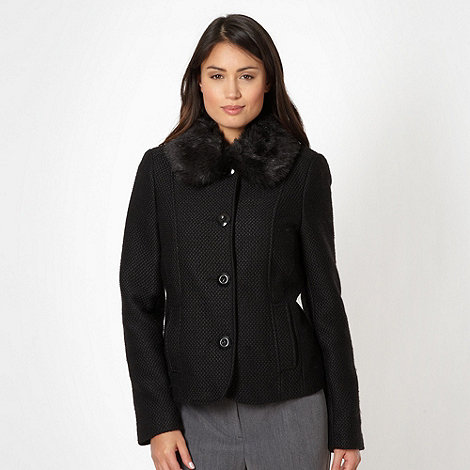 Classics - Black textured faux fur collar jacket