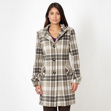 Classics - Taupe oversized check coat