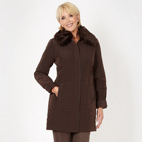 Classics - Chocolate brown quilted faux fur collar jacket