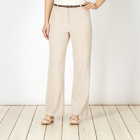 Classics - Beige belted straight leg trousers