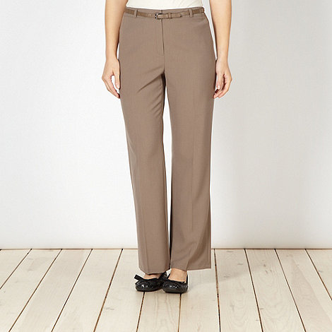 Classics - Taupe belted straight leg trousers