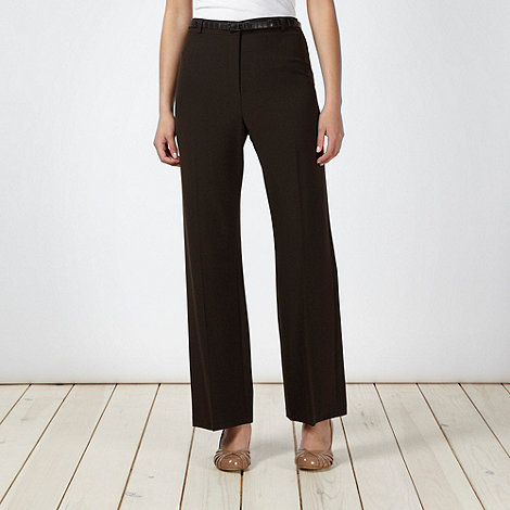 Classics - Chocolate brown mock croc belted trousers