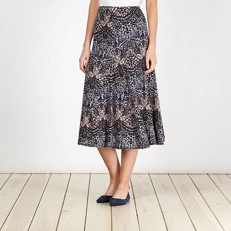 Classics - Navy graphic printed midi skirt