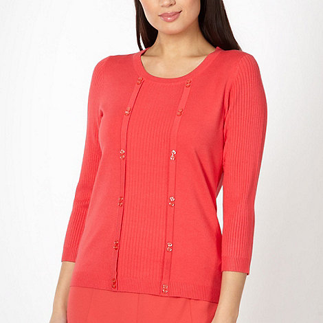 Classics - Dark peach mock 2-in-1 top and cardigan