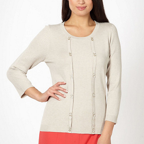 Classics - Natural mock button jumper