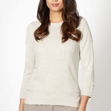 Classics - Beige ribbed button jumper