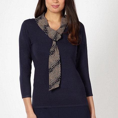 Classics - Navy spotted chiffon scarf jumper
