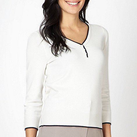Classics - Ivory V neck button detail jumper