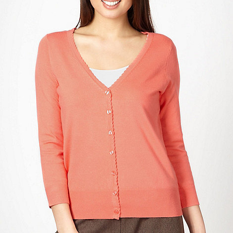Classics - Peach scalloped trim cardigan