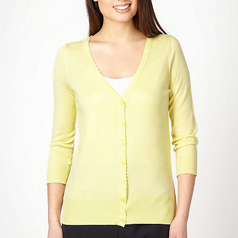 Classics - Yellow scalloped trim cardigan