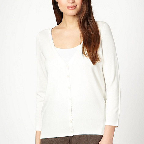 Classics - White scalloped trim cardigan