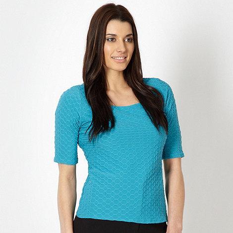 Classics - Aqua textured square neck top