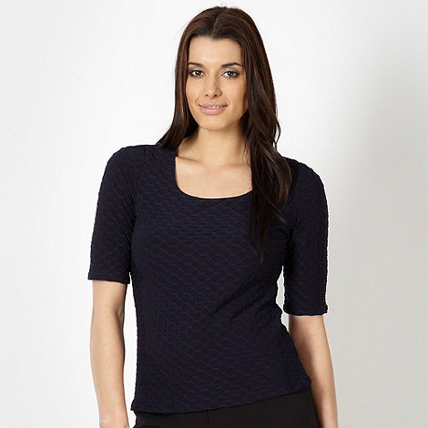 Classics - Navy textured square neck top