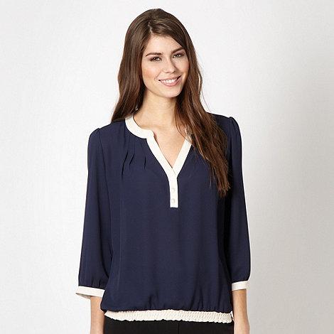 Classics - Navy border chiffon blouse