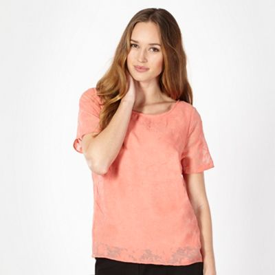 Classics Light peach floral burn out top - . -