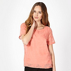 Classics - Light peach floral burn out top