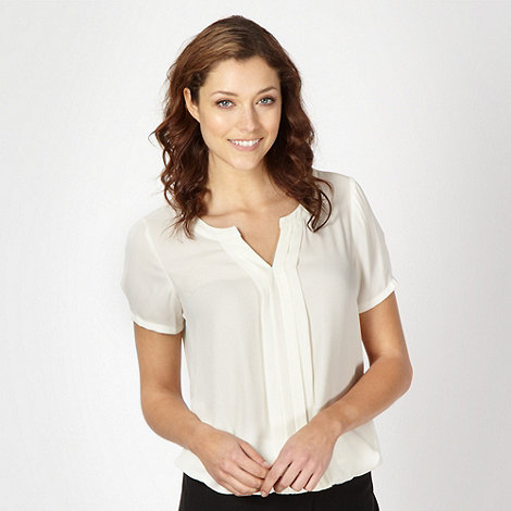 Classics - Ivory pleated front woven blouse