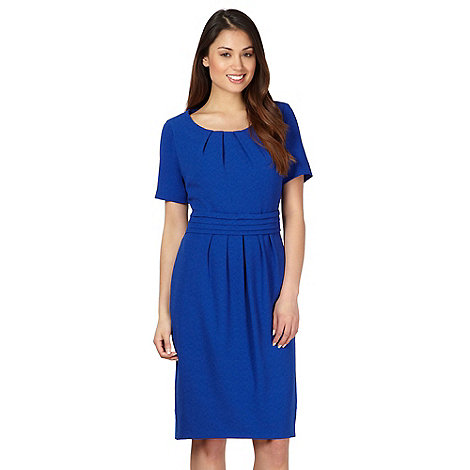 Classics - Royal blue textured crepe shift dress