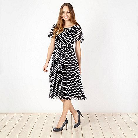 Classics - Navy polka dot chiffon dress