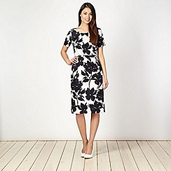 Classics - Ivory pansy floral belted shift dress