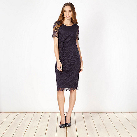 Classics - Navy lace twist front shift dress