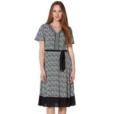 Classics Black mixed tribal crepe dress - . -