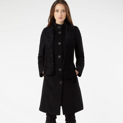 Black Coat With Cashmere And Matching Scarf