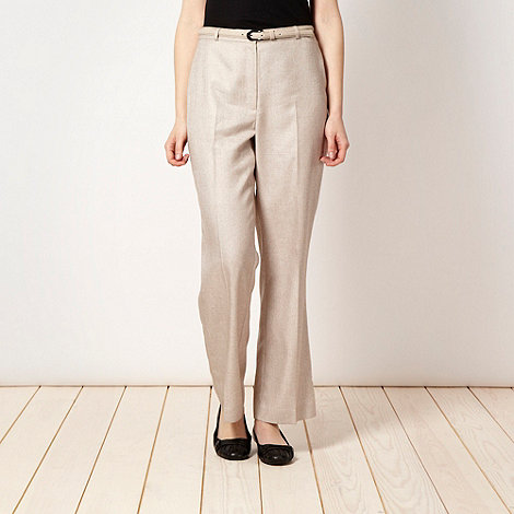 Classics - Beige belted textured trousers