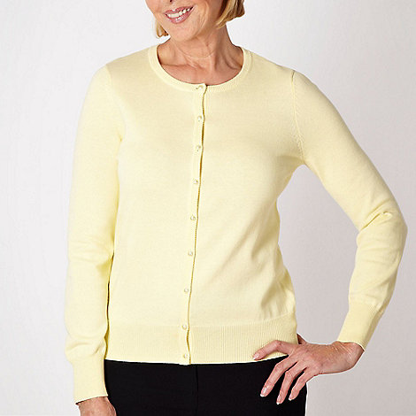 Classics - Pale yellow cotton crew neck cardigan