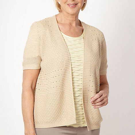 Classics - Beige short sleeved textured knit cardigan