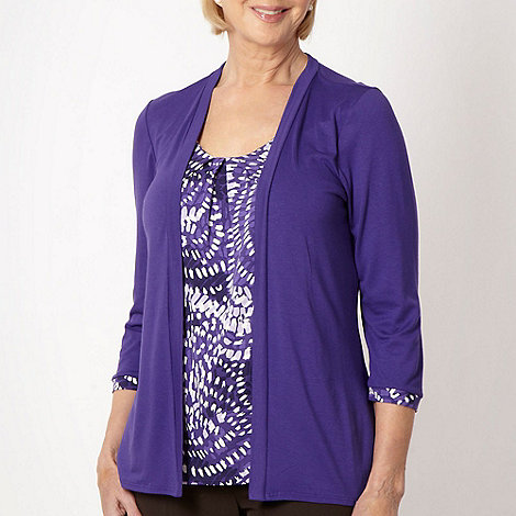 Classics - Purple two in one mosaic print top and cardigan