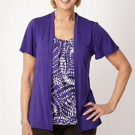 Classics - Purple two in one printed top and short sleeved cardigan